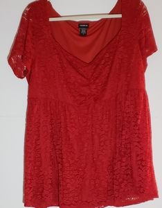 Torrid Red Cinch Lace Babydoll Top